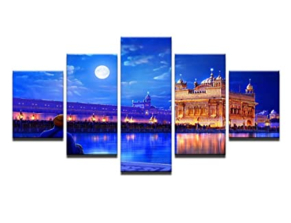 5PCS Framed Golden Temple Abstract Canvas Prints - 5 Piece Amritsar Sikh's  Heritage Artwork Canvas Prints Wall Art for Office and Home Wall Decor