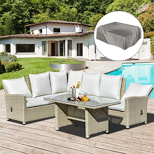 Outsunny 5 Piece PE Rattan Reclining Outdoor Dining Set