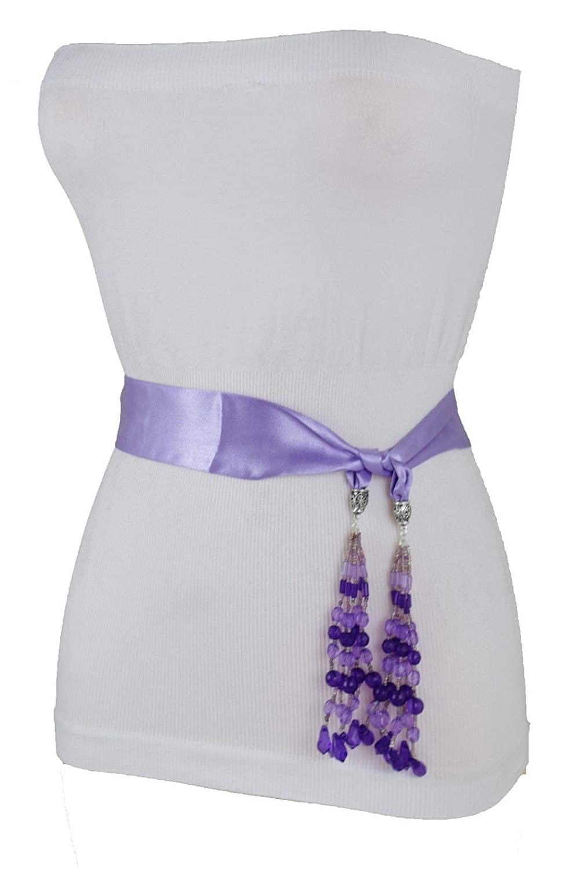 33b5f43aaeb Amazon.com  Hot Women Belt Sash Tie Wrap Round Silk Lavender Purple Fabric  Tassel Beads XS S  Beauty