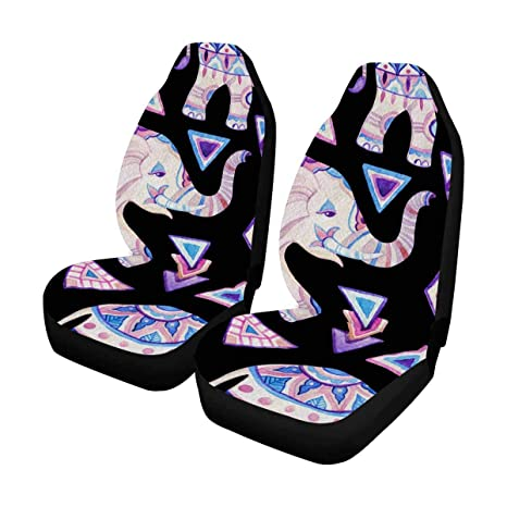 InterestPrint Auto Seat Covers Full Set Of 2 Watercolor Indian Elephant Ornate Car Front