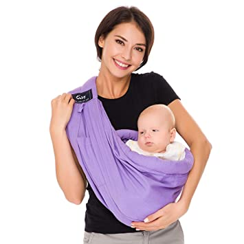 Gray Natural Cotton Baby Sling Baby Holder Extra Comfortable for Easy Wearing Carrying of Newborn Infant Toddler and Ideal for Baby Registry Baby Carrier by Cuby