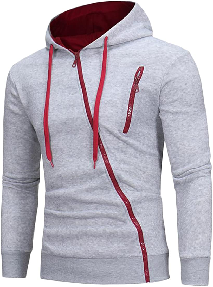 Alion Mens Autumn Pullover EcoSmart Fleece Hooded Sweatshirt Light Grey L