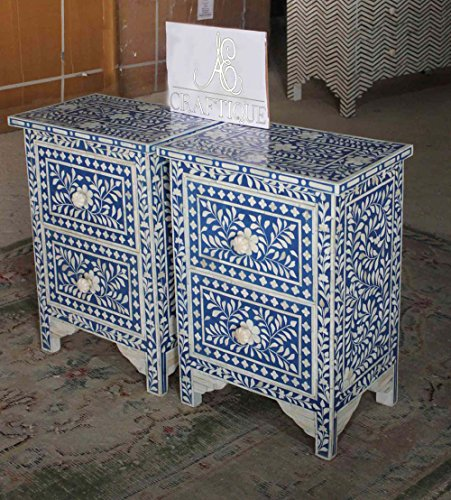 Ace Craftique Wooden Handmade Bone Inlay Bedside End Table for Living Room - Blue (Bone Side Inlay Table)