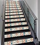 Stair Stickers Wall Stickers,13 PCS Self-Adhesive,Tribal,Mexican Style Aztec Patterned Retro Hand Drawn Design Abstract Decorative,Blue Orange Ivory,Stair Riser Decal for Living Room, Hall, Kids Room
