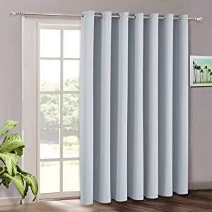 RYB HOME White Curtain Blind - Extra Long Room Darkening Window Treatment Panels for Patio Door Sliding Glass Door Pool House Office Dining Hall Ceremony, 100 x 108 inches Long, Grayish White