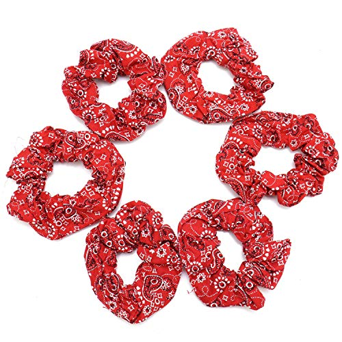 JETEHO 6 pcs Red Bandana Scrunchies Bobbles Ponytail Holders Hair Ties