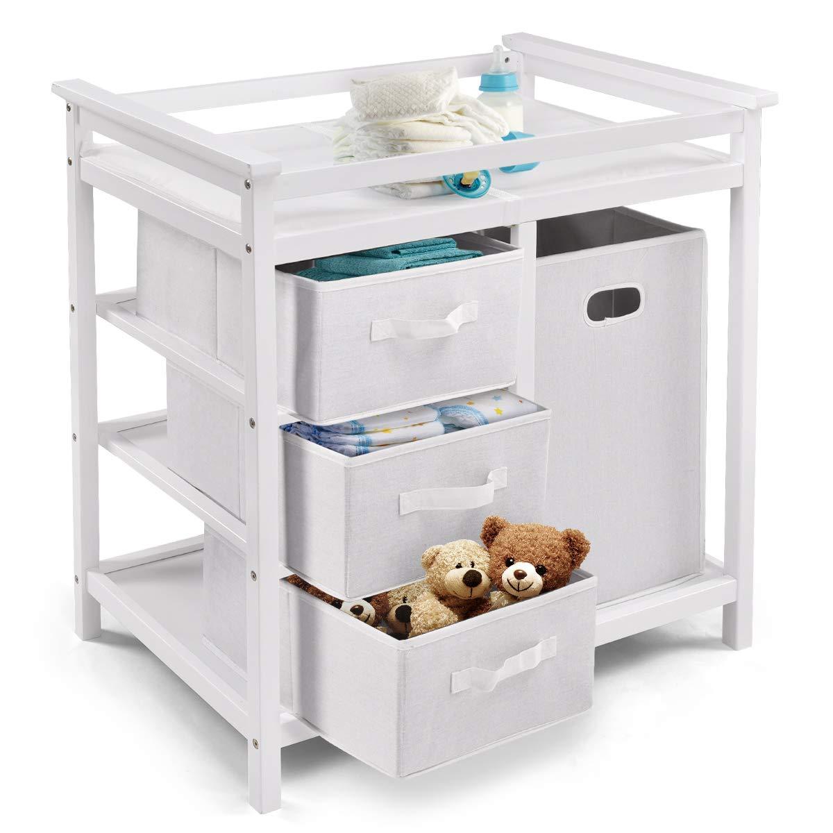 Costzon Baby Changing Table Basket Hamper Infant Diaper Nursery Station White