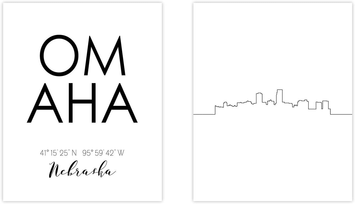 Omaha Skyline Wall Décor Prints - Set of 2 (8x10) Art Photos - Typography Minimalist Poster