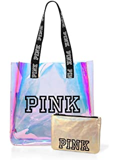 5d82f45c460 VICTORIA SECRET - RARE - PINK TOTE IRRIDESCENT SET WITH SMALL COSMETIC BAG  BEACH BAG