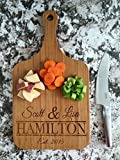 Personalized Engraved Cutting Board with Handle Housewarming and Wedding Gift for Kitchen (10 x 18 Bamboo Paddle Shaped, Hamilton Design)