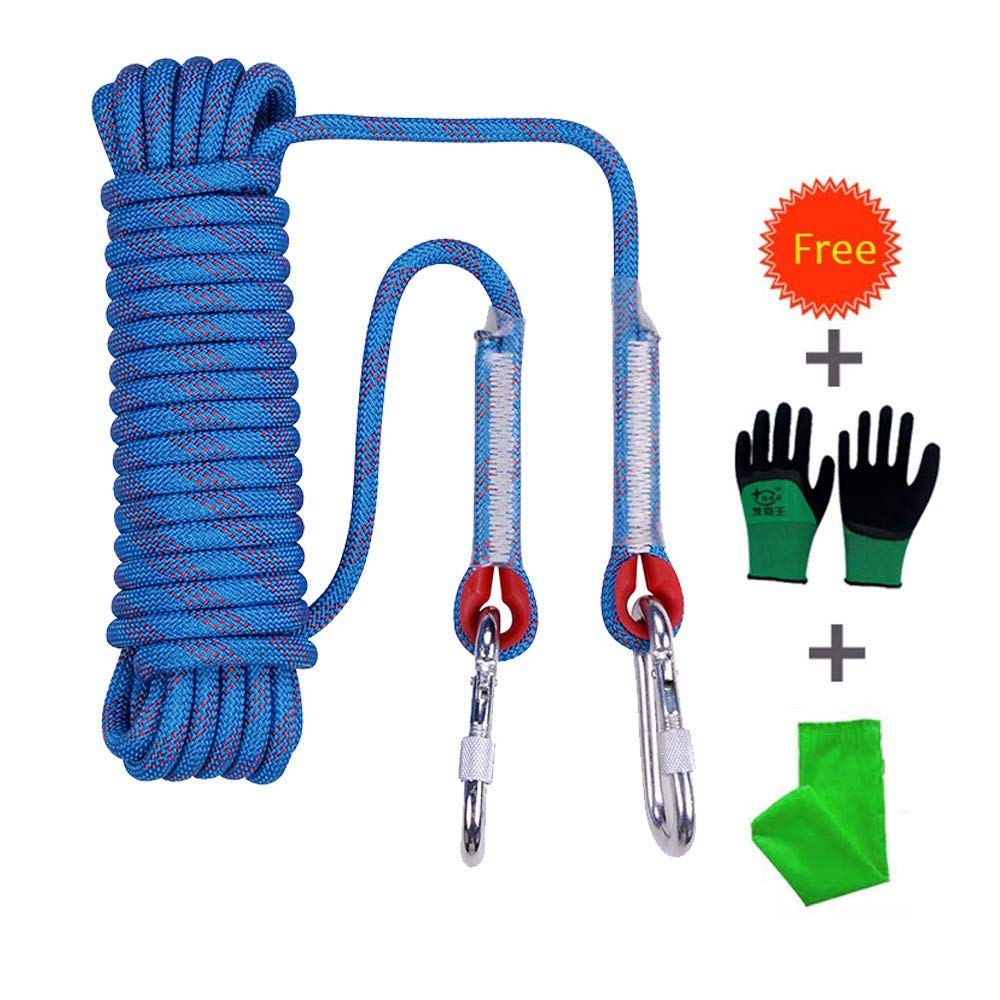 Procity Climbing Rope, Professional Outdoor Static Rock Climbing Rope,Escape Rope Ice Climbing Equipment Fire Rescue Parachute Rope [ 32ft ] [ Diameter 10mm][Blue] by Procity