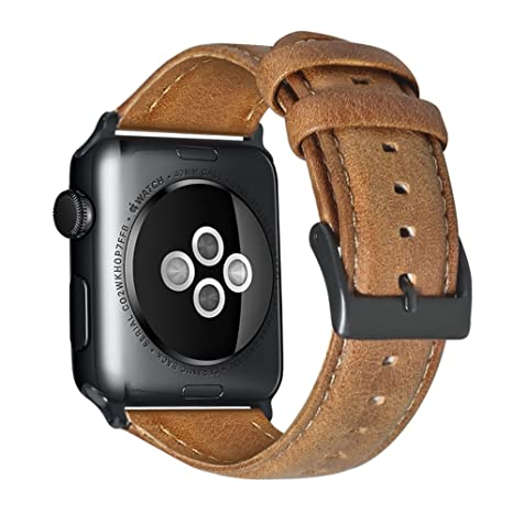 Armband für Apple Watch 42mm(44mm Series 4), Apple Watch Armband Leder Armband Vintage Echtleder Uhrenarmband für iWatch Seri