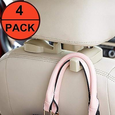 EldHus Car Headrest Hooks Backseat Hanger Storage for Handbags Purses Coats Grocery Bags, Universal Vehicle Car Seat Back Holder Bottle 4-Pac: Automotive