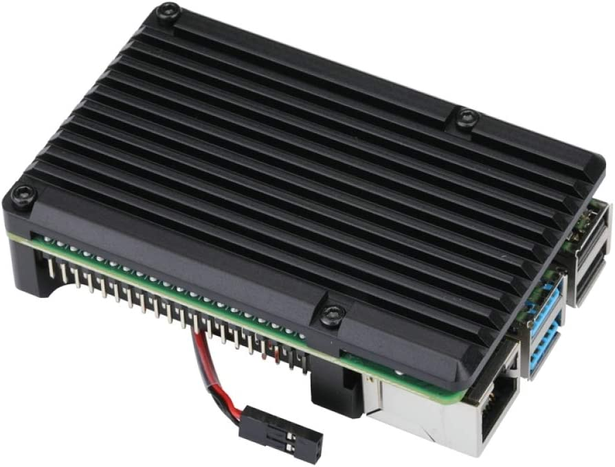 RONSHIN Raspberry Pi 4 Aluminum Case with Dual Cooling Fan Metal Shell Black Enclosure for RPI 4 Model B Double Fan