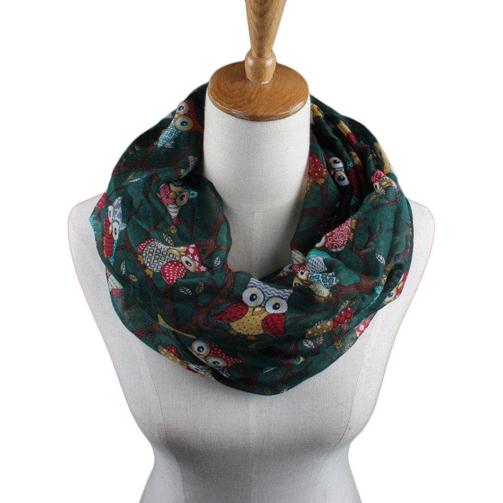 Zilbery Women Ladies Fashion Scarf Soft Lightweight Owl Pattern Warm Wrap Shawl muffler Collar (Red)