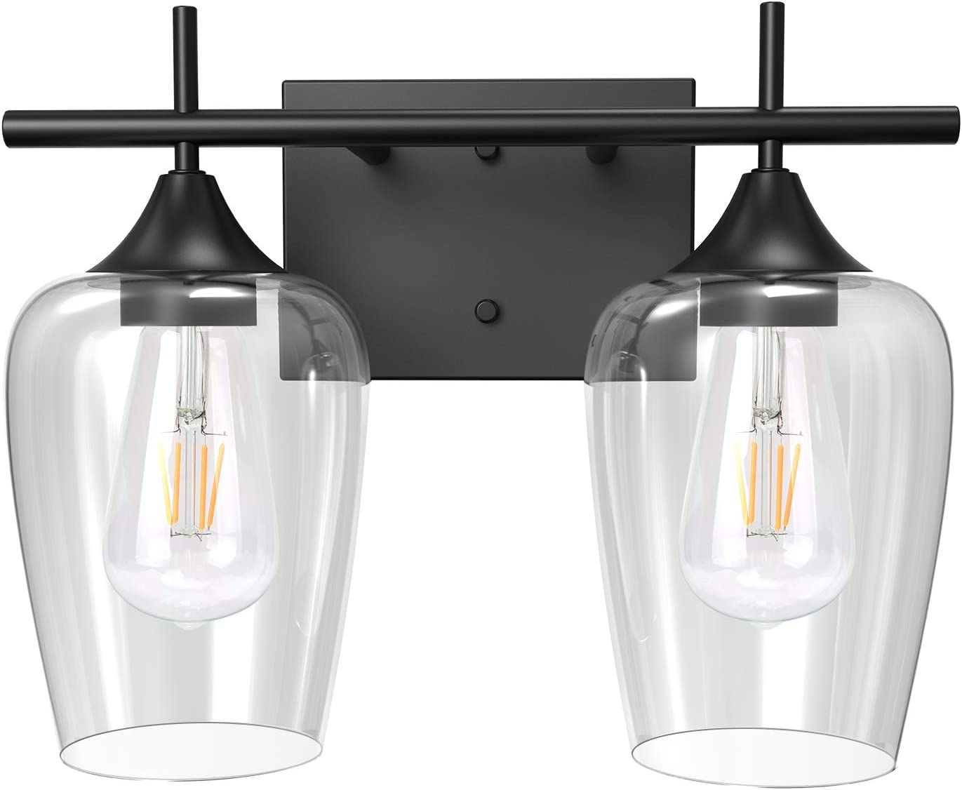 Lamps Light Fixtures Matte Black Finish Ul Listed 2 Light Bathroom Vanity Light Fixtures Jackyled Indoor Wall Mount Wall Sconce Vanity Light For Bathroom Makeup Dressing Table Clear Glass Shade Tools Home