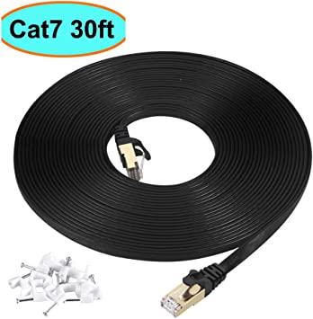 10M 30FT CAT7 Flat Cable White SSTP LAN Direct Ethernet Patch Shielded 10Gbps