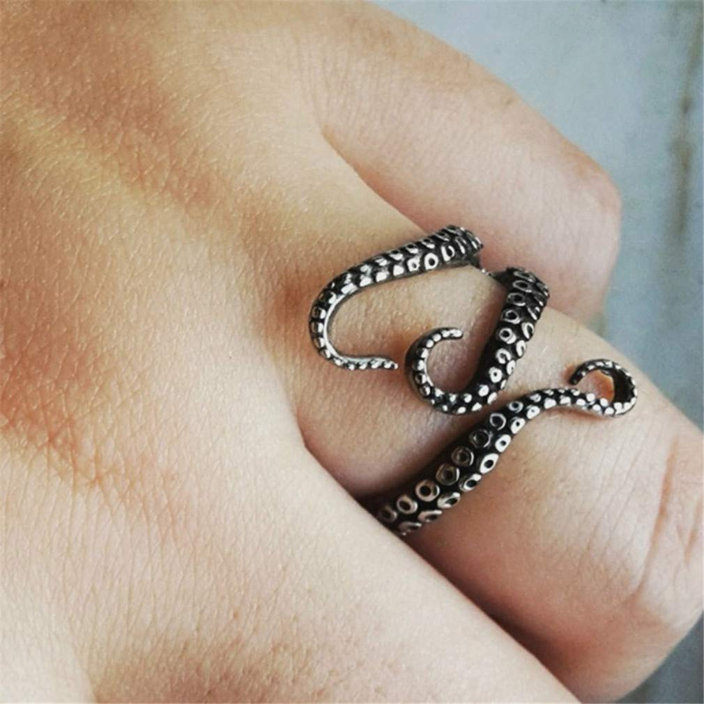 LJSLYJ Titanium Steel Gothic Deep Sea Squid Octopus Ring Jewelry Opened Adjustable Ring by LJSLYJ (Image #3)