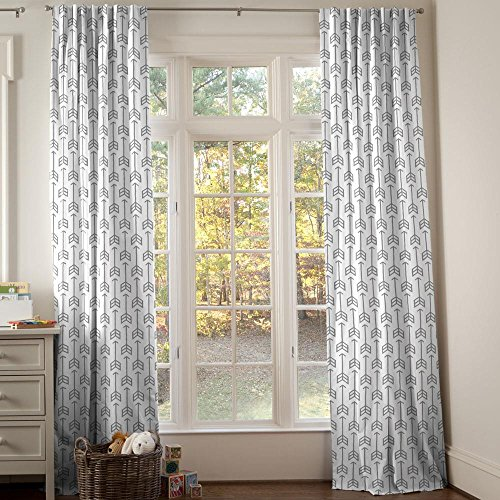 Carousel Designs Cloud Gray Arrow Drape Panel 96-Inch Length Standard Lining 42-Inch Width by Carousel Designs