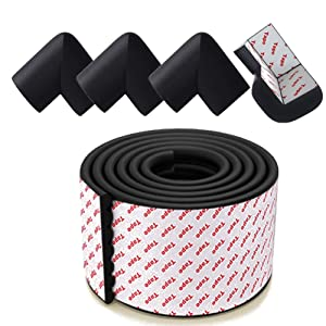 DNAHAN Self Adhesive Edge and Corner Guards Set 6.5ft Baby Proofing Foam Edge Bumper Strip + 4PCS Soft Corner Cushion Protectors for Covering Sharp Angles of Furniture, Wall, Fireplace (Black)