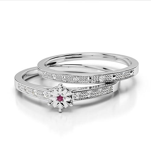 Oro rosa/oro blanco/oro amarillo/Platinum Ruby & Diamond Juego de Anillos