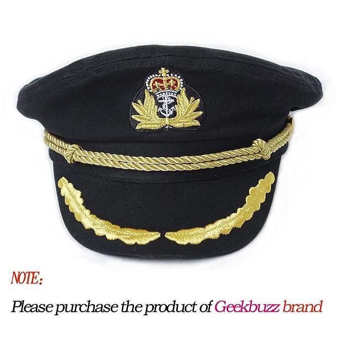832ae261d Geekbuzz Navy Captain Hat Unisex Adjustable Naval Costume Sailor Cap for  Men Women Adult