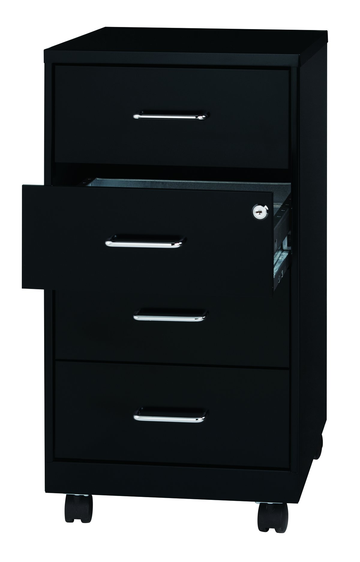 Office Dimensions 18'' Deep 4 Drawer Mobile Metal Organizer, Craft and Office Cabinet, Black