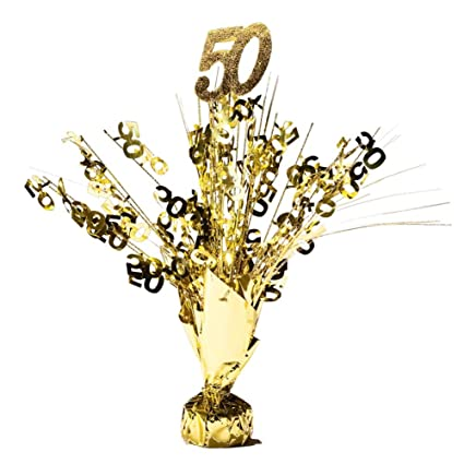Amazon Com 50th Anniversary Weighted Gold Centerpiece Qty 1 Toys