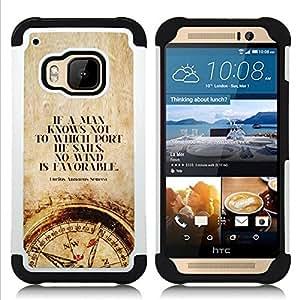 """HTC One M9 /M9s / One Hima - 3 en 1 impreso colorido de Altas Prestaciones PC Funda chaqueta Negro cubierta gel silicona suave (Tiempo hombre inteligente profundo Brújula Cita"""")"""