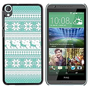 Be Good Phone Accessory // Dura Cáscara cubierta Protectora Caso Carcasa Funda de Protección para HTC Desire 820 // Pattern Teal Reindeer Winter Knit