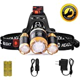 LETOUR Headlight, Brightest 6000 Lumen CREE LED Work Headlamp,18650 Rechargeable Waterproof Flashlight Zoomable Head Light,Bright Head Lights Camping Running Hiking