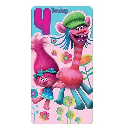 Tarjeta de 4º cumpleaños, diseño de Trolls: Amazon.es ...