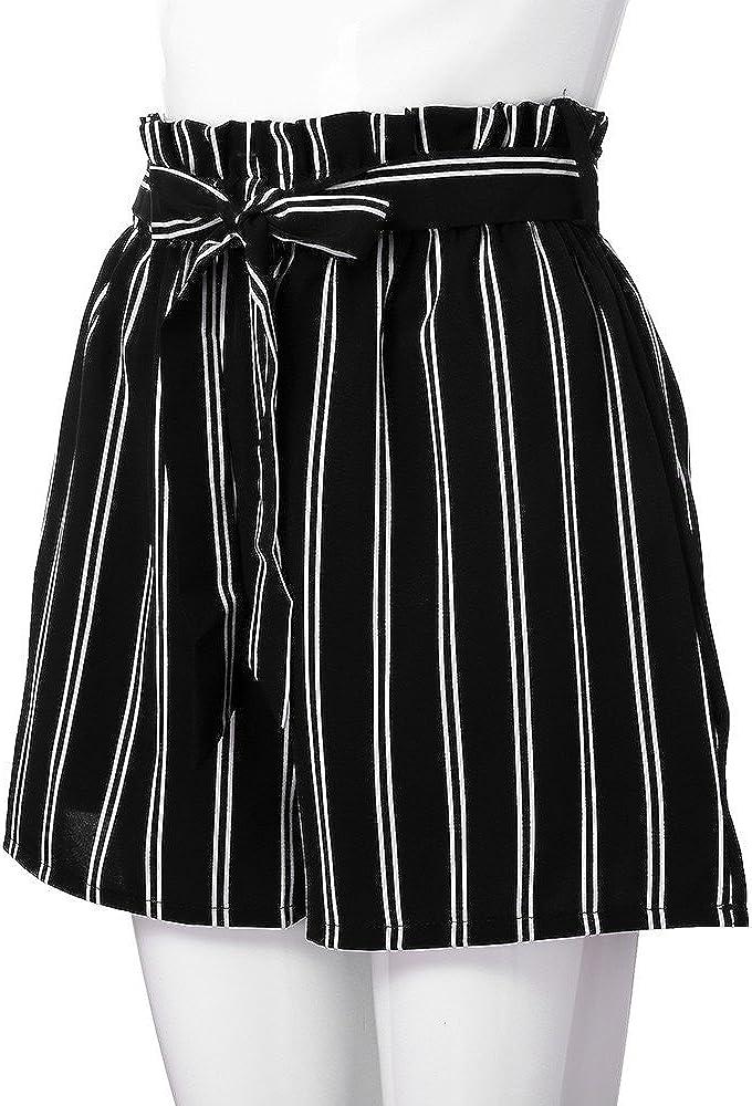 Damen Shorts Sommer Bermuda Kurze Pant Hotpants Hosen Strand Stoffhose Frauen Baumwolle Basic Elegante Chino Hose Retro Solid L/ässige Passform Elastische Taillen Tasche