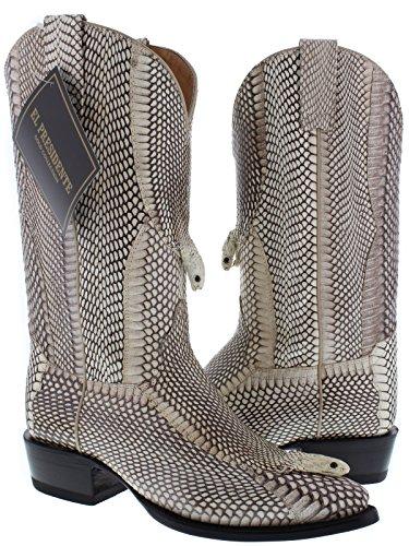 El Presidente Men's Full Genuine Cobra Snake Skin Leather Cowboy Boots J Toe 13 EE (Skin Alligator Boots Cowboy)