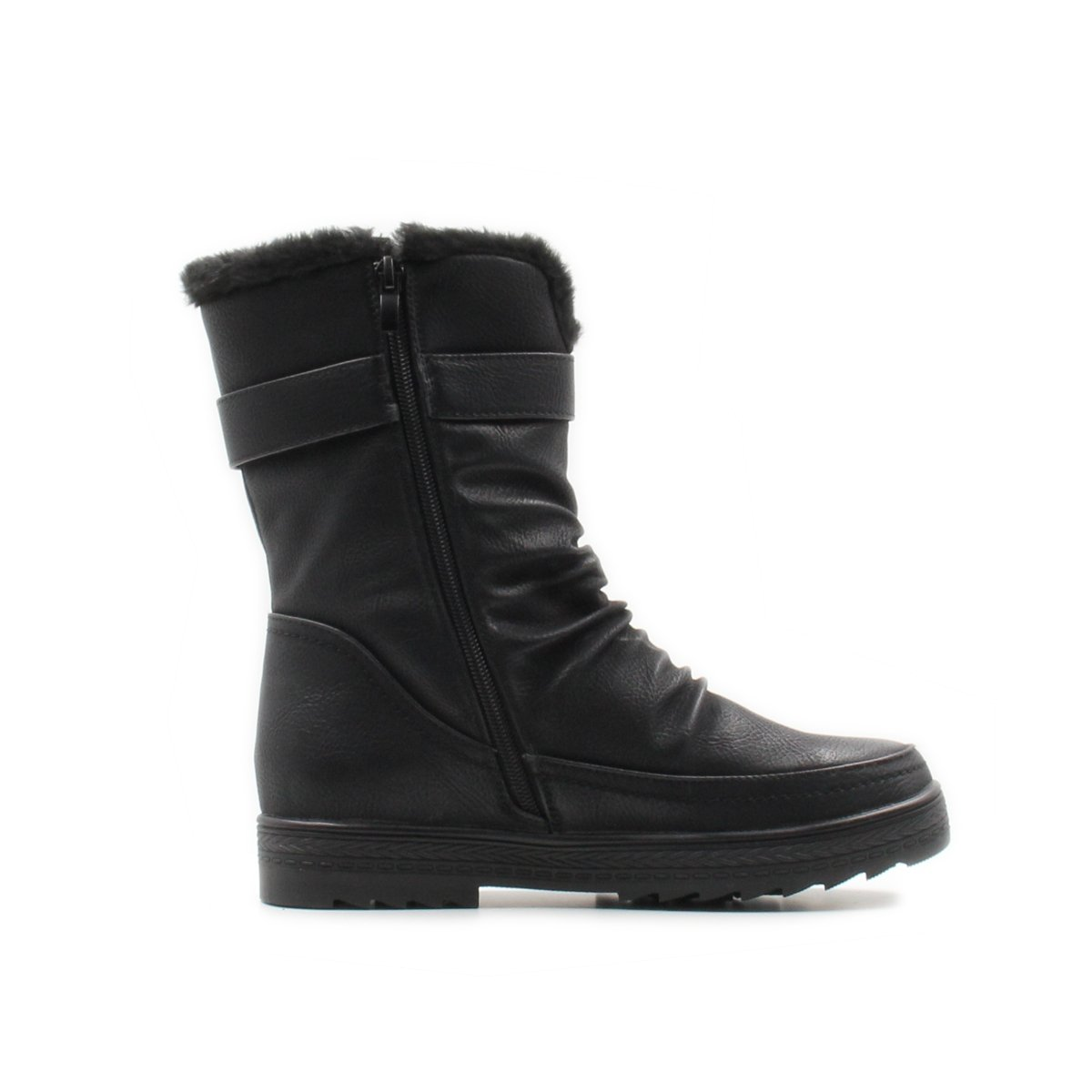 Stylish & Comfort Women's Slouchy Mid-Calf Fur Lined Interior Winter Boots with Side Zipper Warm Shoes (10, Black)