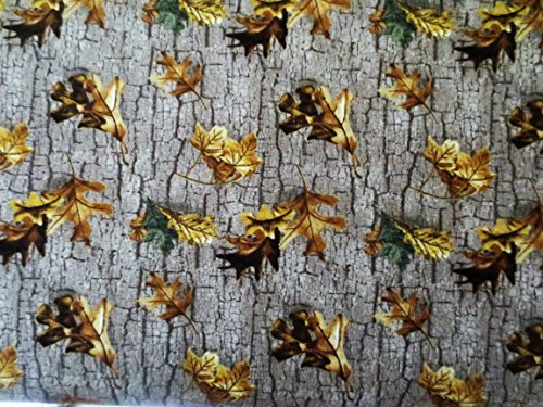 (Camo Falling Leaves On Bark Background 100% Cotton Pattern 10167 )