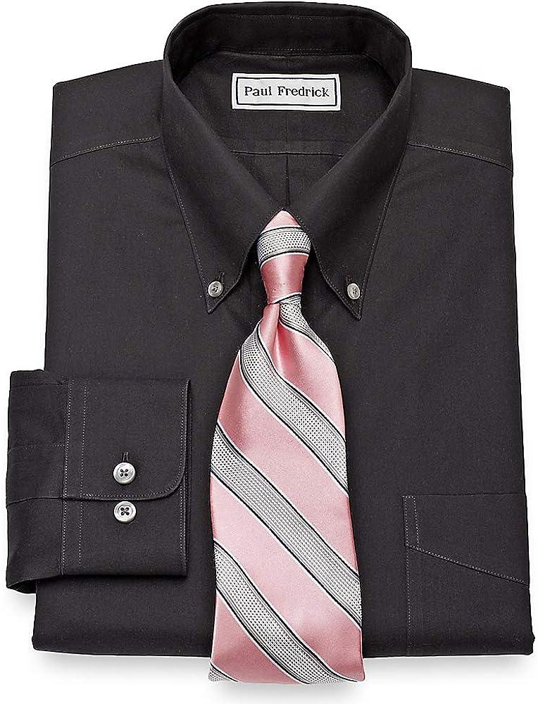 Paul Fredrick Mens Non-Iron 2-Ply Cotton Button Down Collar Dress Shirt Black 17.5//36