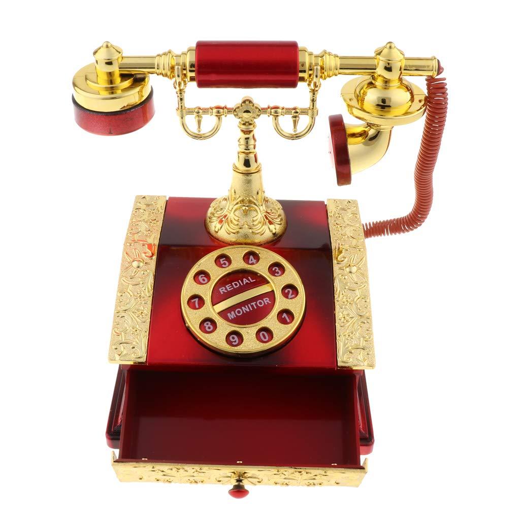Sharplace Boîte à Musique Téléphone Tiroir Boîte à Bijoux Home Office Décoration - Castle in The Sky - Rouge
