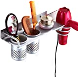 MyLifeUNIT Wall Mount Hair Dryer Hanging Rack Organizer, Aluminum Hair Dryer Holder with 2 Cups