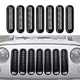 [Upgrade Clip in Version] Matte Black Front Grill Mesh Grille Inserts Kit for Jeep Wrangler Jk & JKU 2007-2015 - 7PCS
