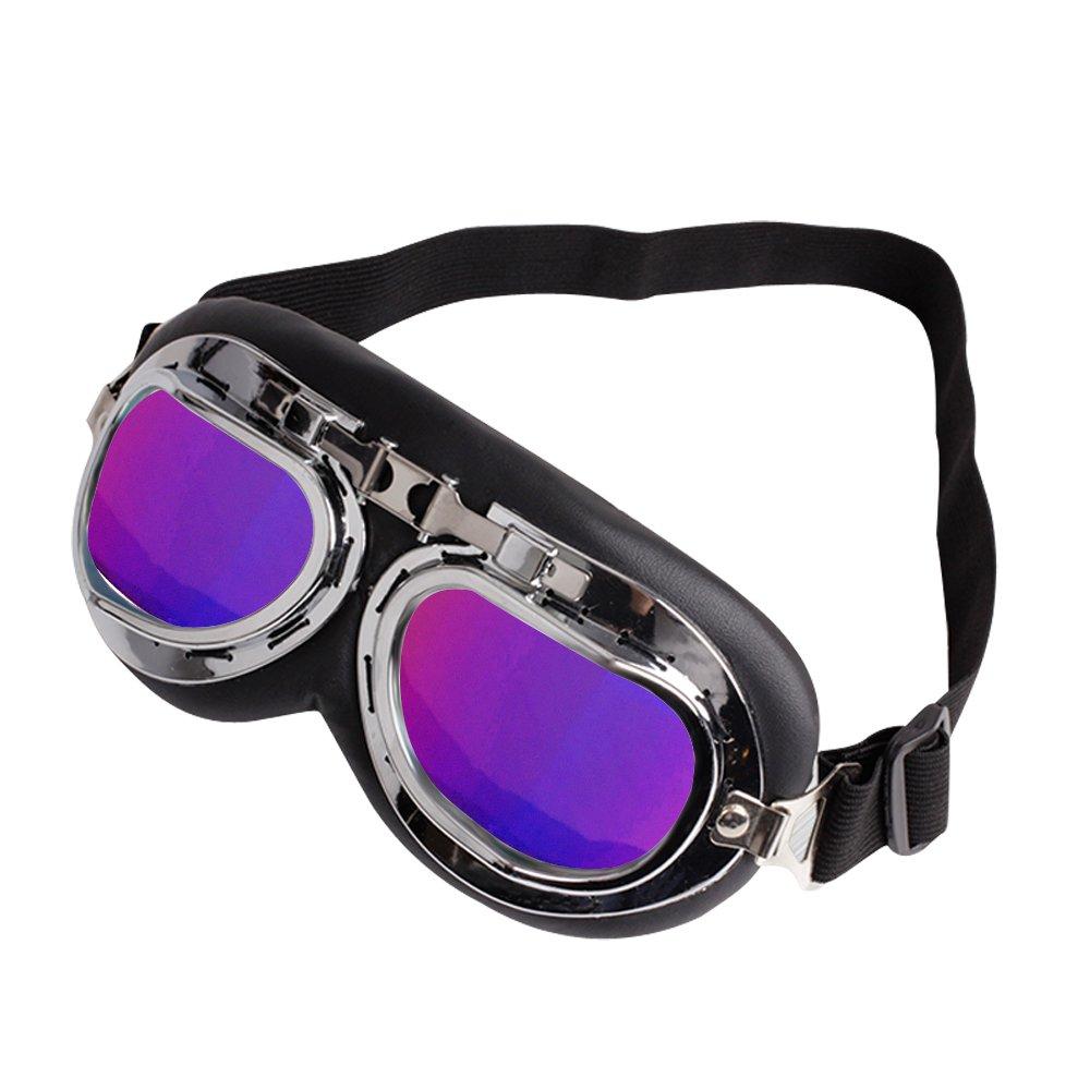 Motorradbrille Motorrad Schutzbrille Raf Aviator Vintage Pilot Biker Cruiser Fliegerbrille Windproof Sun UV Helmmaske Eyewear Sport Skibrille Schutzbrille Dekoration Requisiten Silber