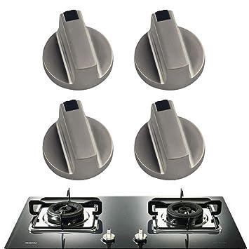 Chytaii 4pcs Estufas de Gas Pomo de Interruptor Mandos de interruptores Botón Utensilio de Cocina Metal 8mm Universal Plata Cocina de Gas Botón de Cocina: ...