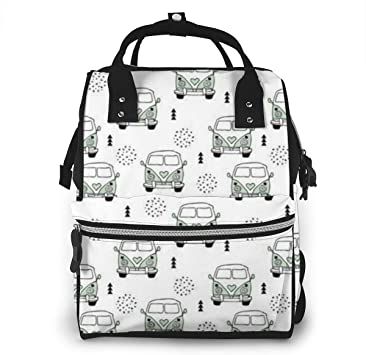 Mochila para pañales Diaper Bag Backpack Cool Vintage Happy Camper Hippie Bus Multifunction Large Capacity Travel Back Pack Baby Nappy Bags Organizer Waterproof and Durable: Amazon.es: Equipaje