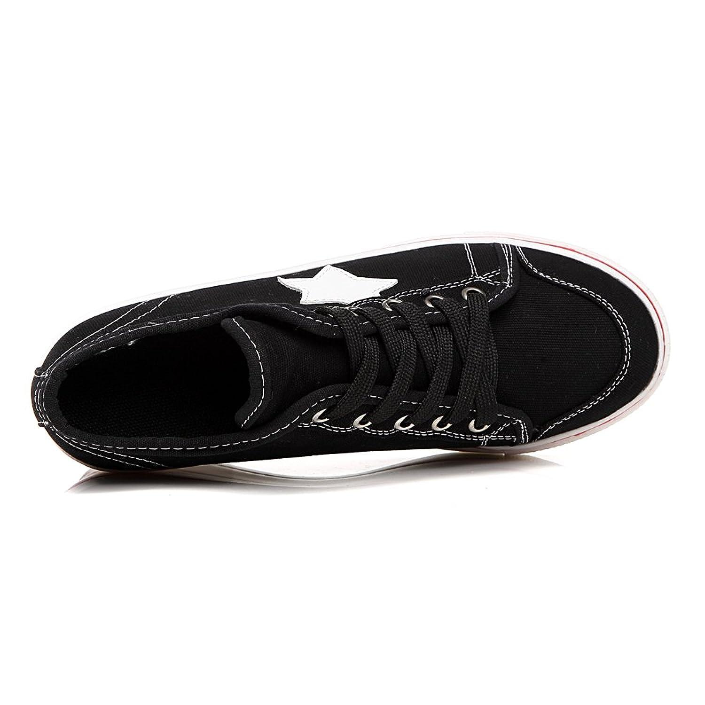 OCHENTA Mujer Lona de La Manera de La Cuna de Tacon Cerrado Deporte Zapatos Cordones #3 Negro Asia 43 - EU 41.5 por9si
