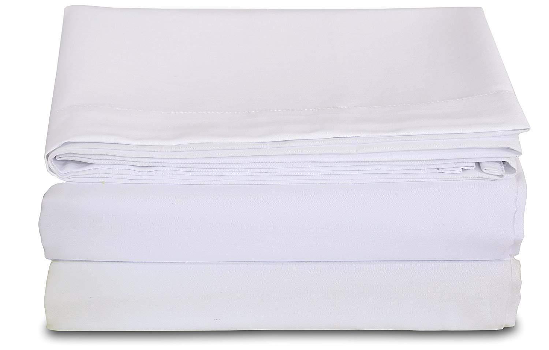 Ras Decor Linen Flat Hospital Bed Sheets 66'' x 96''Flat Sheets, Pack of 3