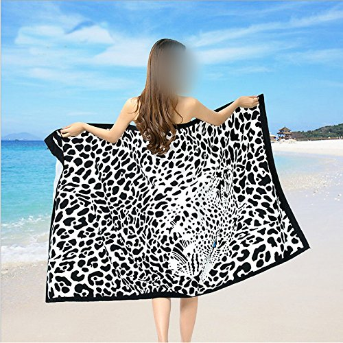 Amazon.com : 100*180cm Beach Towel Microfiber Bath Towel Serviette Toalla Playa Leopard Swim Blanket Bathrobes Black White Printed Yoga Mat : Everything ...