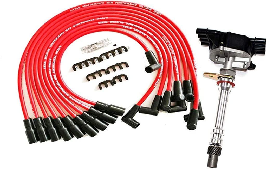 A-Team Performance SBC BBC EFI TBI Distributor and Spark Plug Wires Compatible With GMC CHEVY 1987-1997 5.0L 5.7L C//K Pickup Truck Van Camaro 305 350 HEI652R Red Cap 2-in-1 Kit