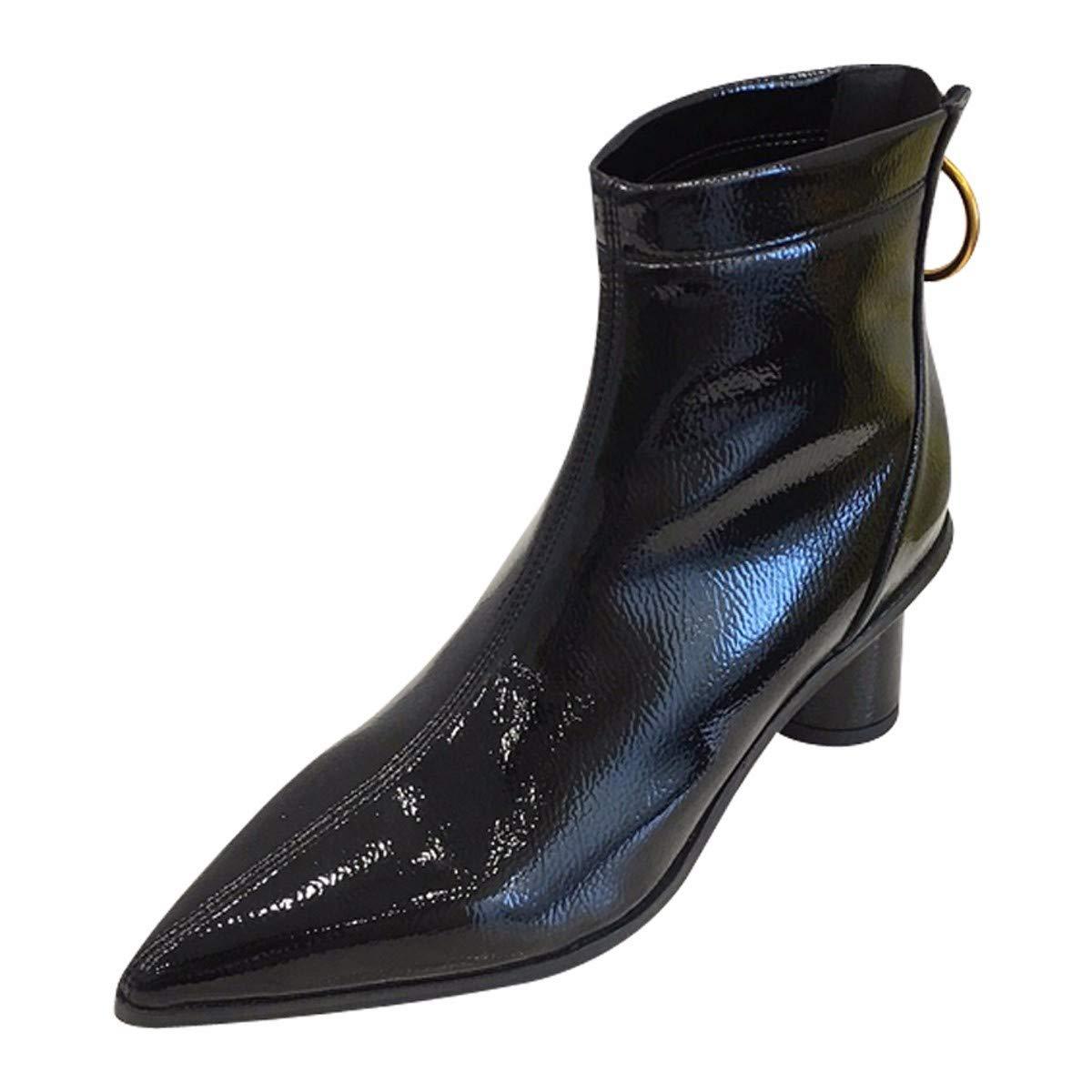 LBTSQ-Mode Damenschuhe Nahe Bei Martin Stiefel Mit Hohen 5Cm Harte Sohle Spitzer Kopf Lack Stiefel Kurze Stiefel Im Frühjahr Und Herbst Kurze Stiefel.