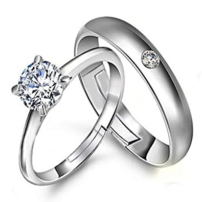 ce664f45fff3 Buy Peora Silver Plated Metal Solitaire Couple Ring for Men and Women Love  Gift for Valentine Online at Low Prices in India