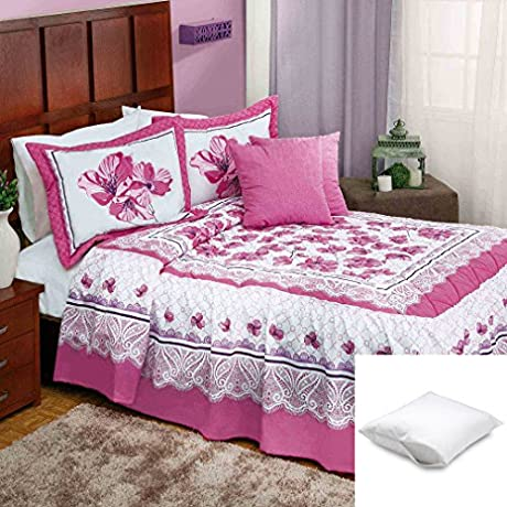 Fernanda 11 Pc Bedspread Set King Bundled With Two Pillow Protectors Queen